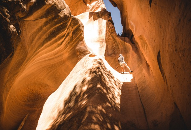 Rappelling Down Yankee Doodle Slot Canyon