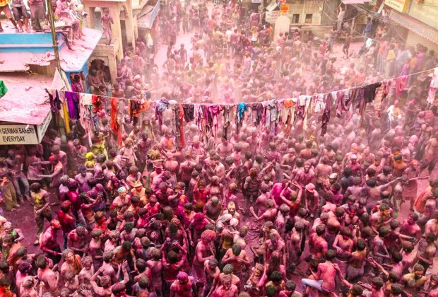 Pushkar Town Square during Holi Festival In India