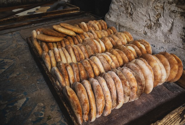 Fresh Baked Bread Loaves In Fes Old Souk