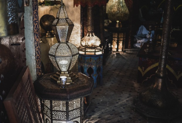 Carved Metal Lamps In Fes Old Souk
