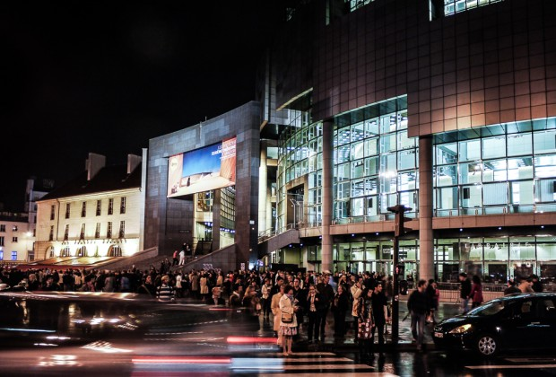 People Outside Opera Bastille At Night