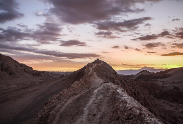 Sunset on ridge crest of Valle de la Luna In Chile