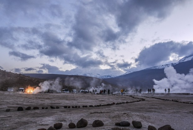 Morning Steam Plumes From Geysers at El Tatio In Chile