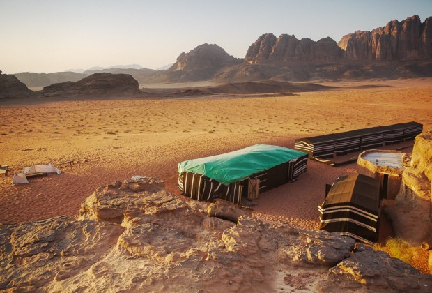 Bedouin Camp At Sunset in Wadi Rum, Jordan