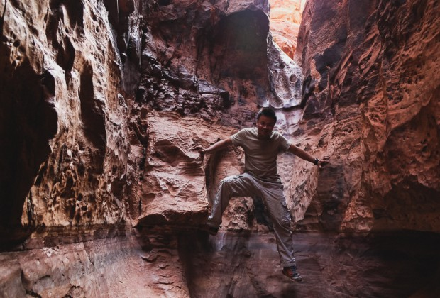 Scrambling On Jebel Khazali Canyon In Wadi Rum