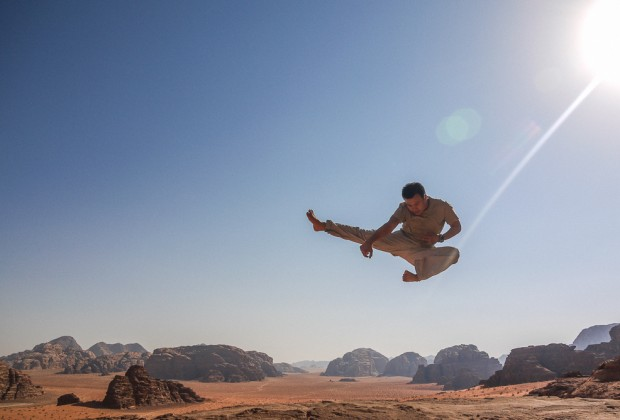 Jumping Shot In Wadi Rum