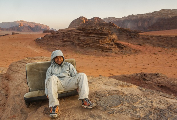 Sitting ATop Bedouin Camp At Sunrise in Wadi Rum, Jordan
